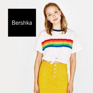 Bershka Rainbow Ringer Crop Top | Small
